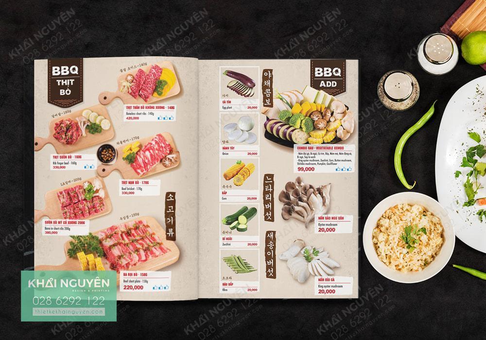 Mẫu thiết kế menu BBQ - Menu nướng kiểu Hàn