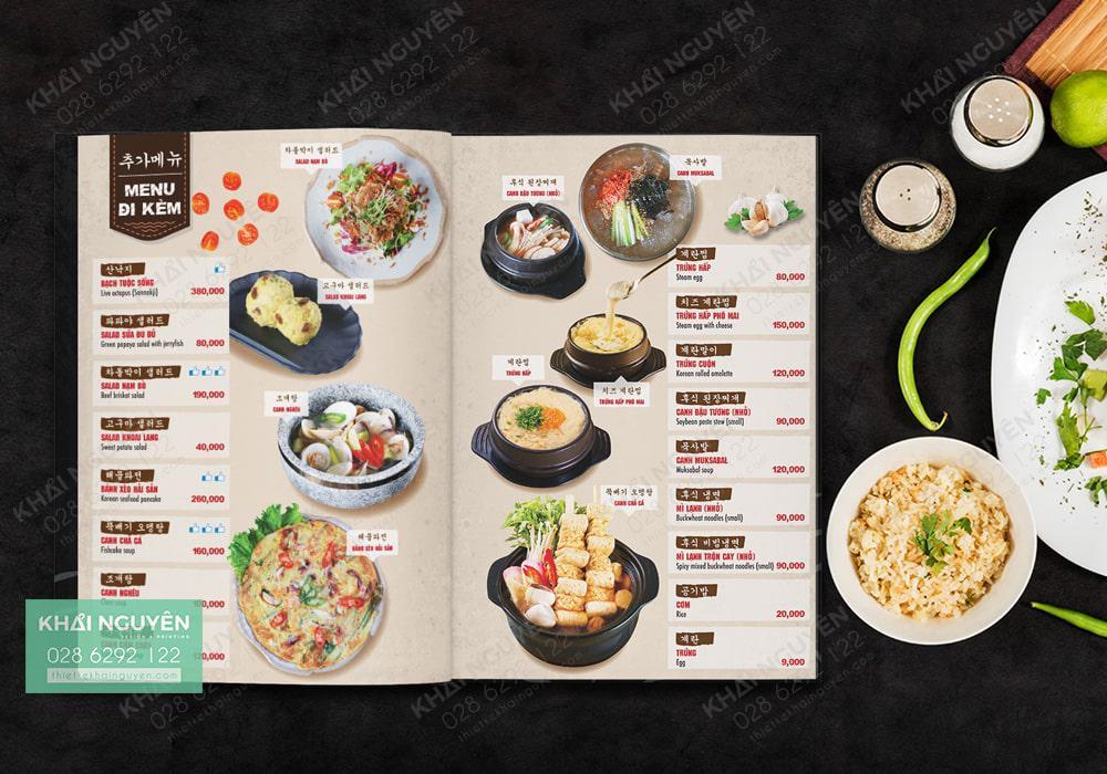 Thiết kế thực đơn nhà hàng Hàn Quốc