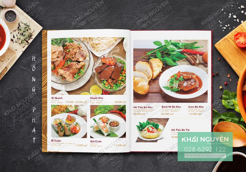 Mẫu thực đơn nhà hàng Việt với thiết kế đơn giản