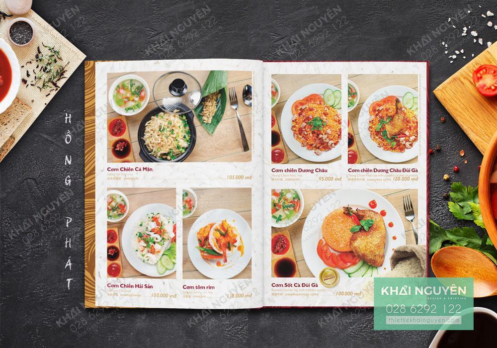 Thiết kế menu nhà hàng với những hình ảnh đẹp