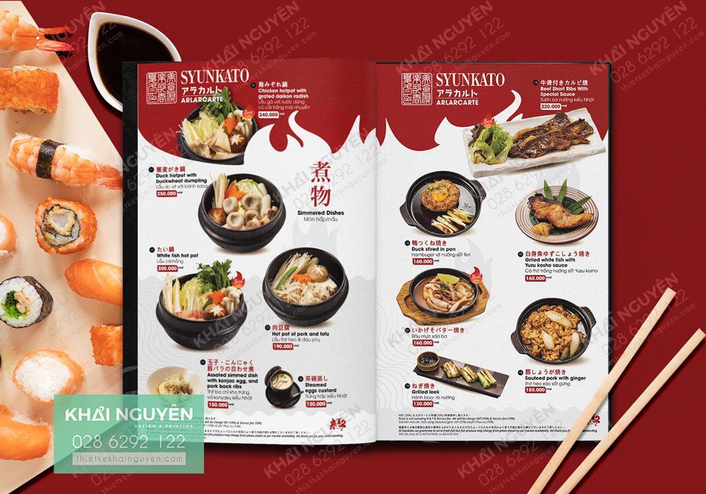 Menu nhà hàng Nhật xuất sắc với nhiều chi tiết vàng