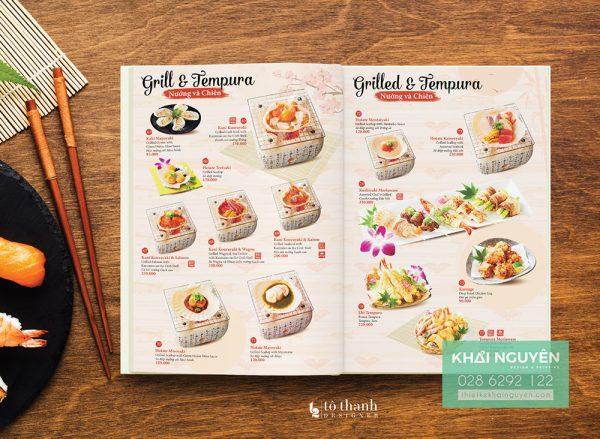 Món ăn đẹp mắt luôn giúp thiết kế thực đơn nhà hàng Nhật ghi điểm tuyệt đối