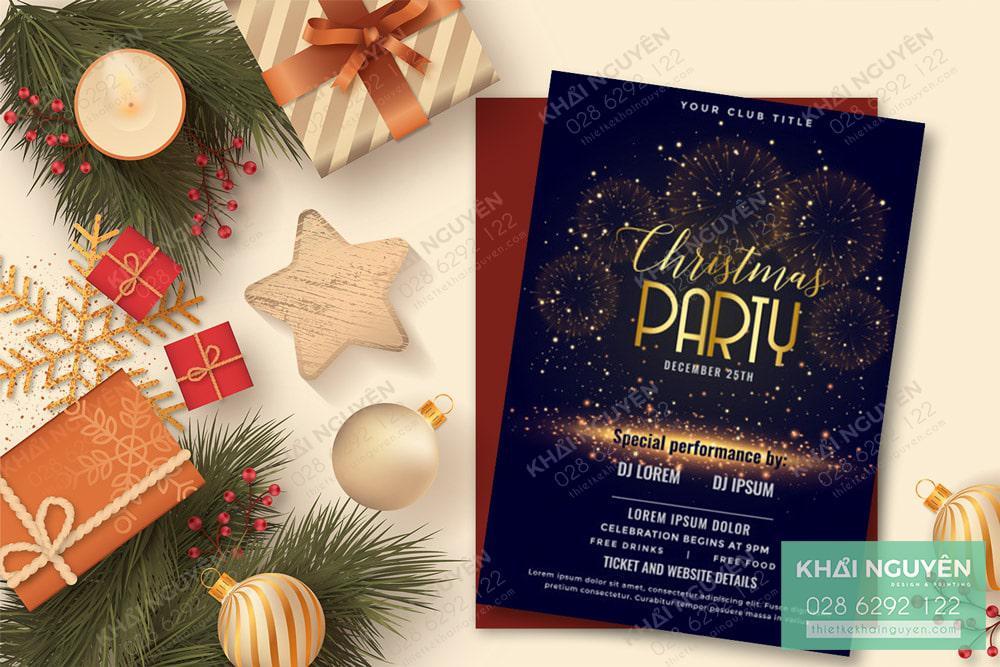 Thiệp mời dự tiệc Noel phong cách hiện đại