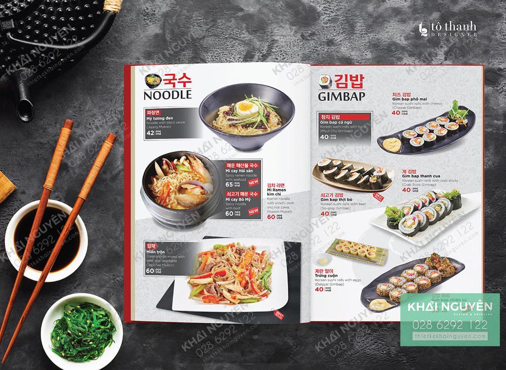 Thiết kế & in menu Hàn Quốc đẹp mắt