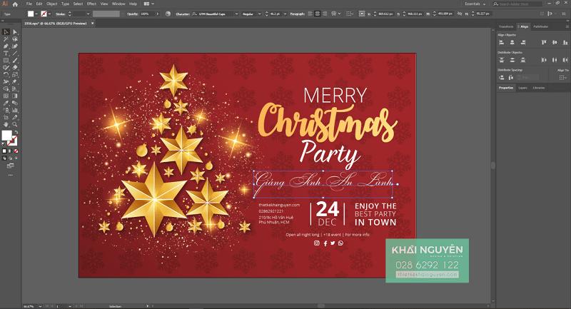 Bước 2: chỉnh sửa nội dung thiệp Noel - tự làm thiệp Giáng Sinh