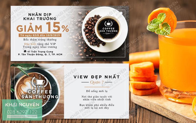 Voucher Cafe giảm giá 15%