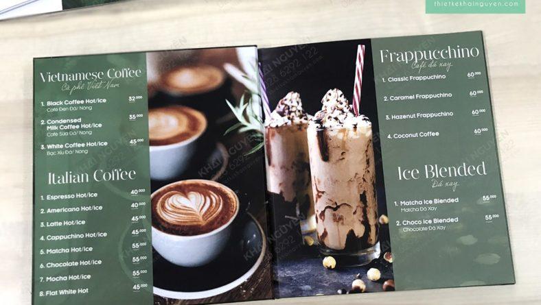 Ruột bộ menu cafe ấn tượng được cán màng laminate chống nước