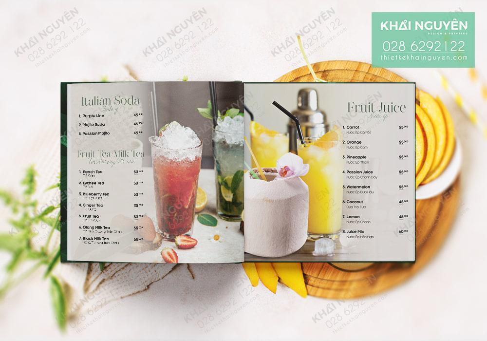 Thiết kế menu quán coffee đơn giản