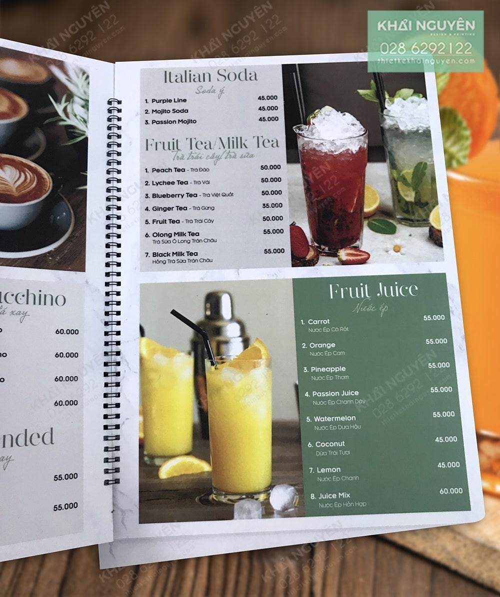In menu nhựa chống nước cho quán cafe