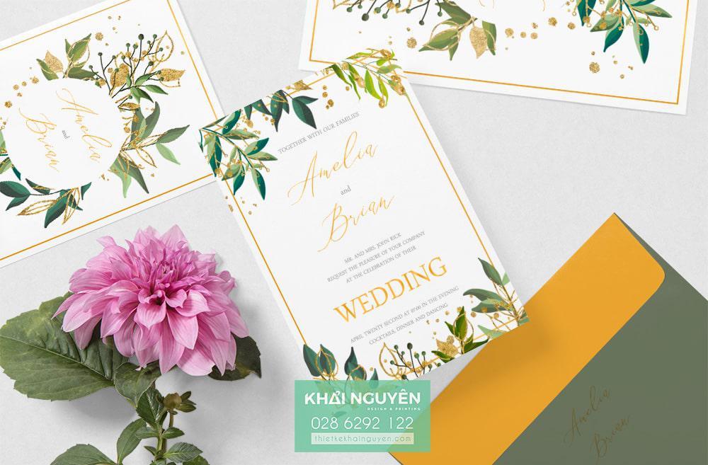 Mẫu thiệp cưới đẹp 2020 với style hoa lá