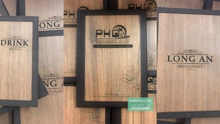 Menu bìa gỗ bọc da cao cấp cho nhà hàng mới nhất 2020.