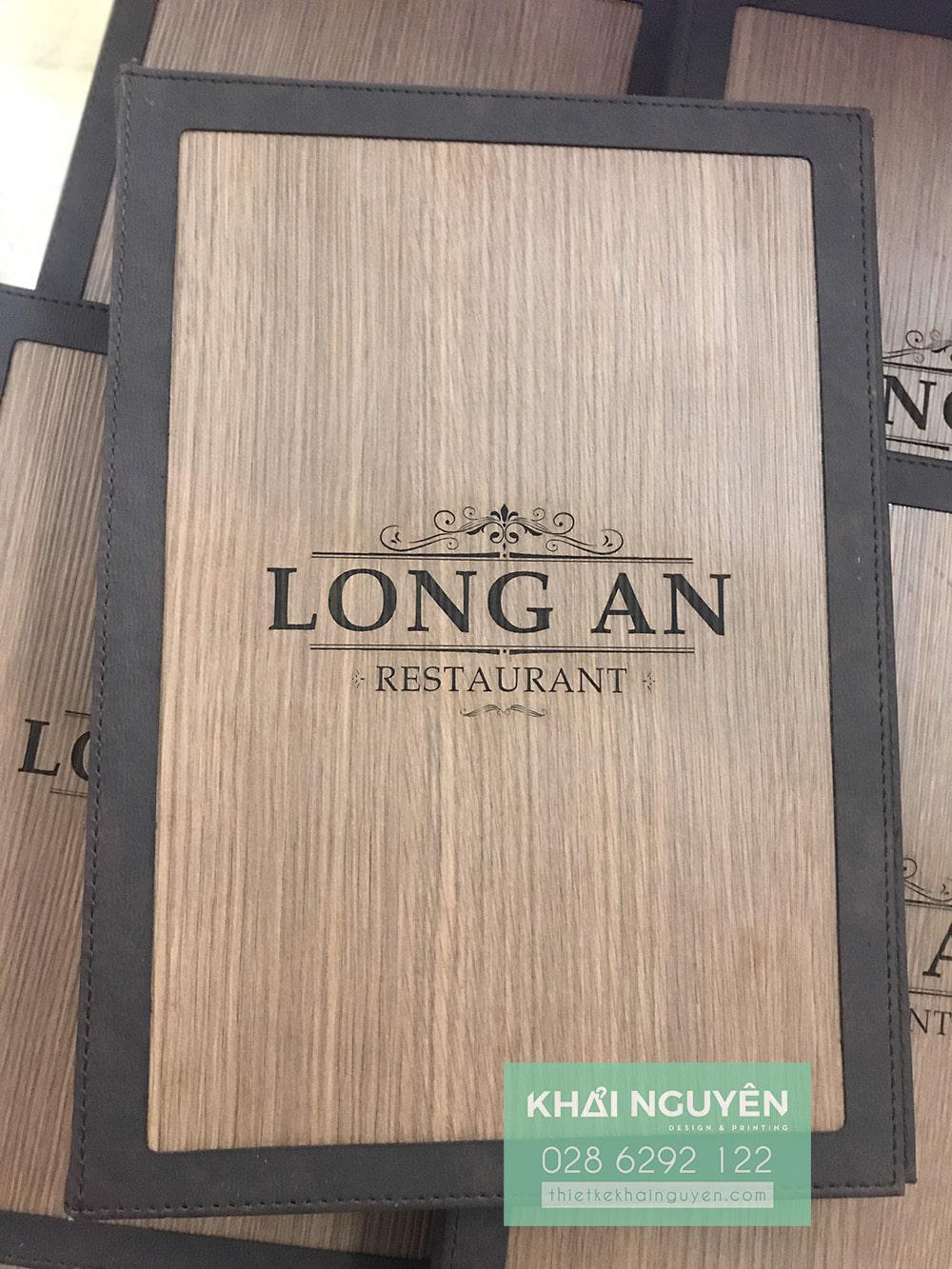 Bìa menu gỗ viền da Long An Restaurant