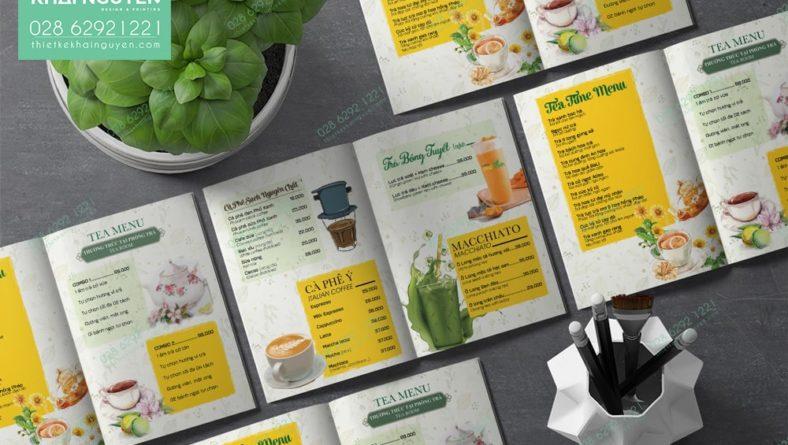 Thiết kế menu quán cafe đẹp - in menu nhựa mỏng