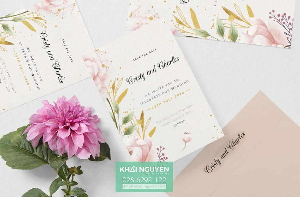 Wedding Invitation - mẫu thiệp đẹp với hoa xinh xắn