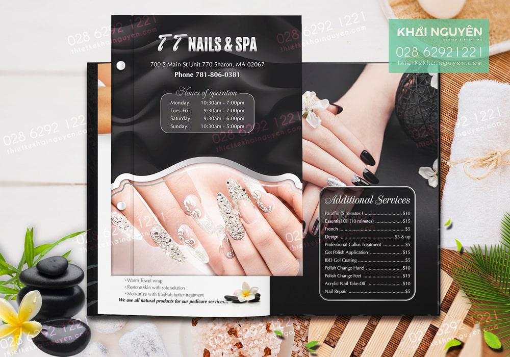 Bìa menu nail được mockup dưới dạng đóng ốc ngoài