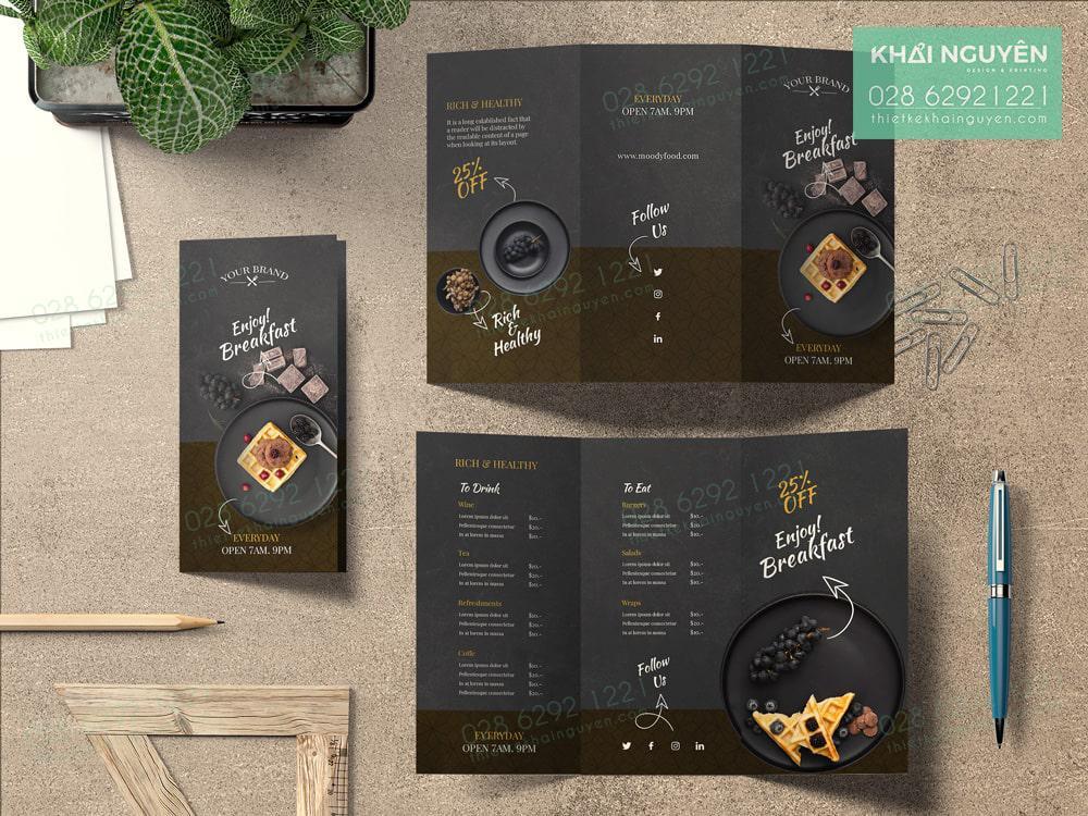 Brochure menu - dạng menu gấp cho tiệm bánh ngọt