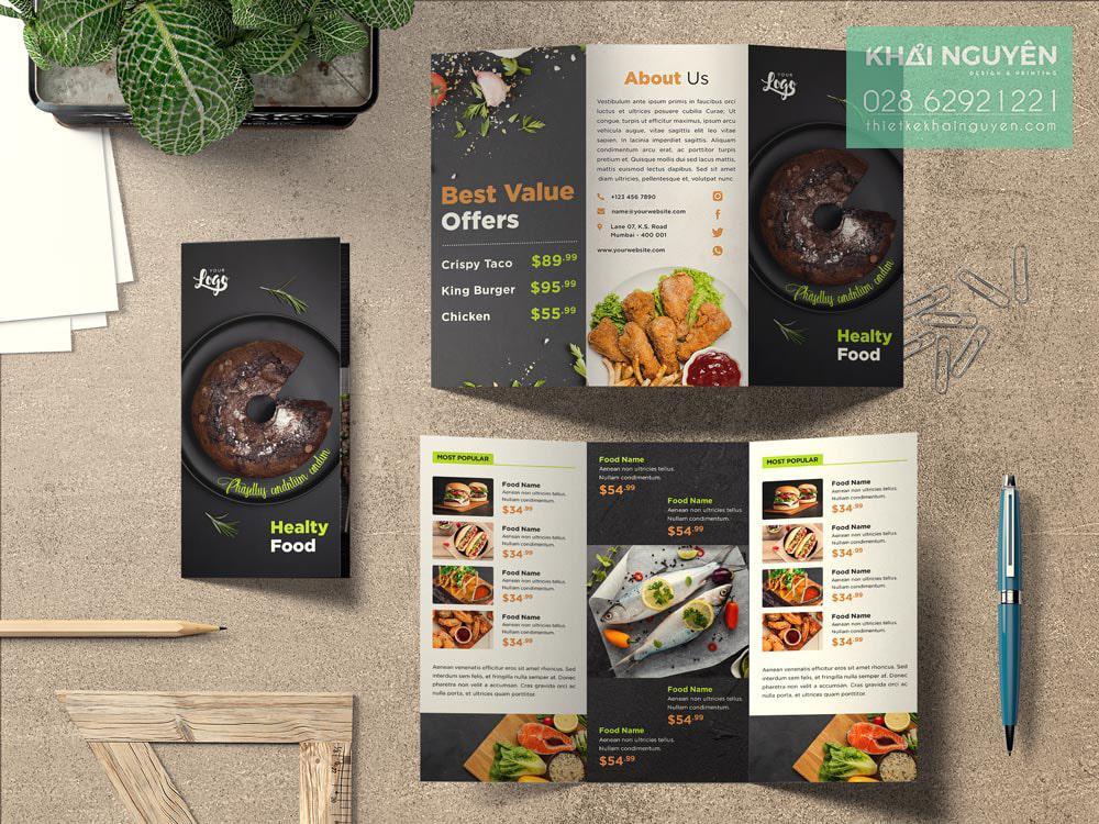 Healty Food menu delivery - menu cầm tay tại các tiệm thức ăn nhanh