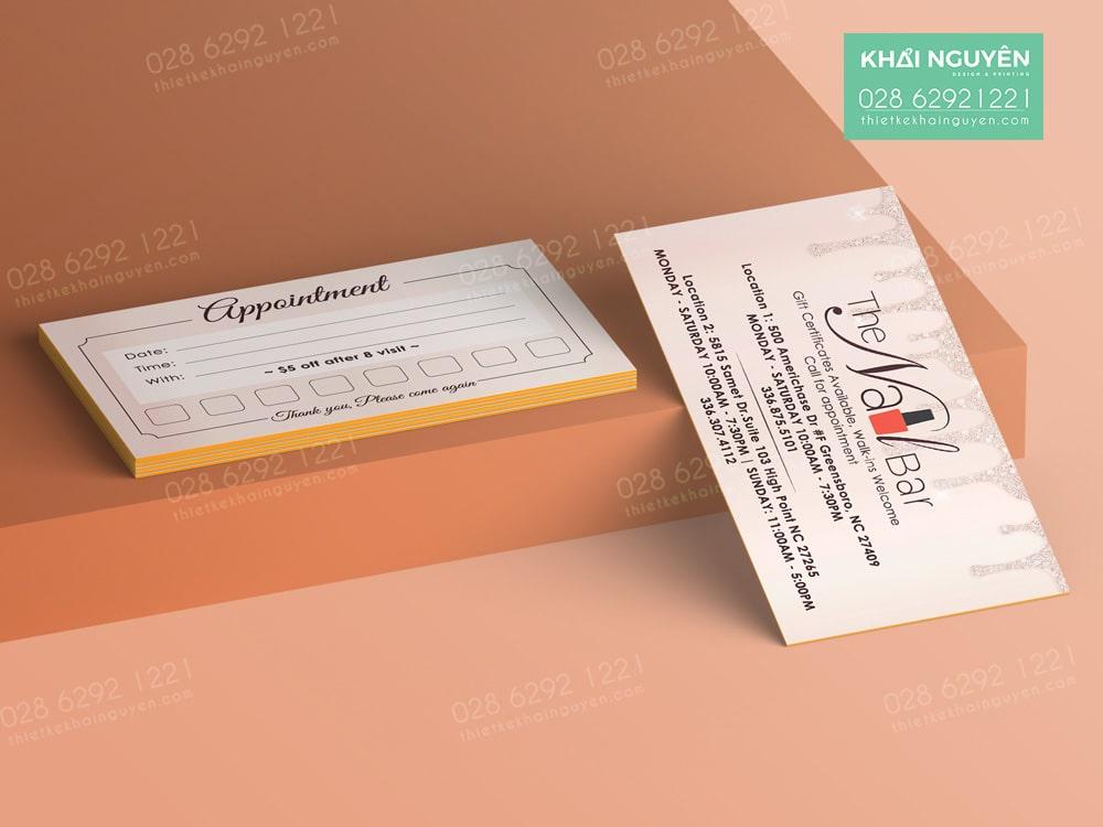 In card visit Nail - dạng card bồi phủ viền