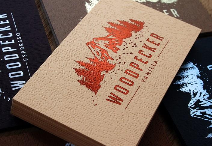 In card visit giấy vân gỗ