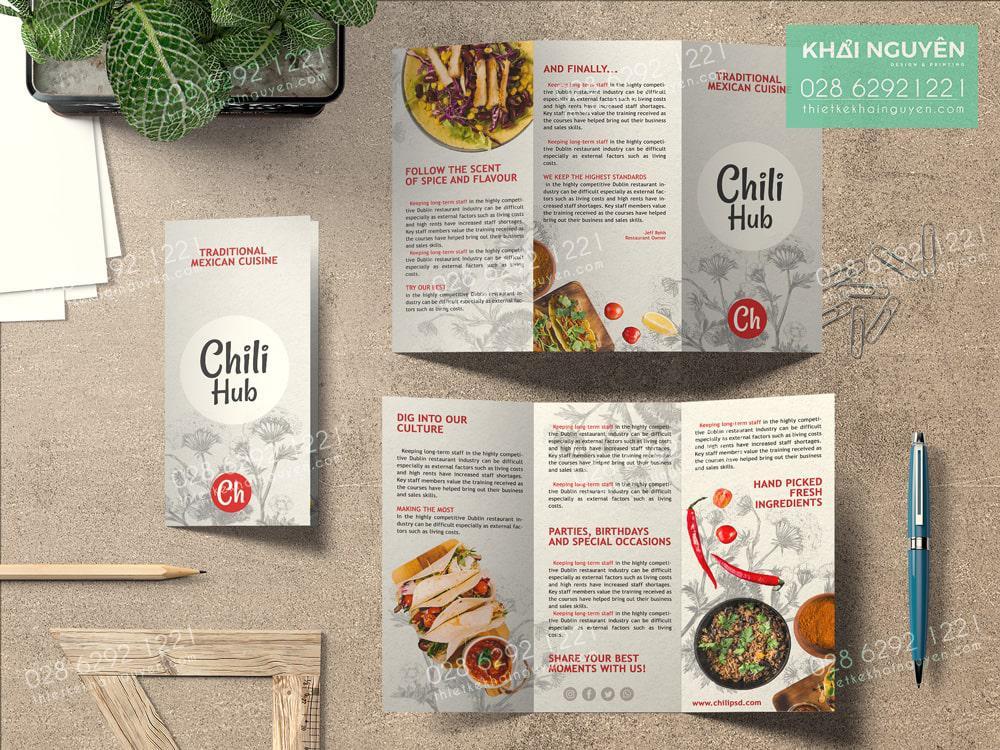 Chili Hub Cuisine - thiết kế menu gấp ba