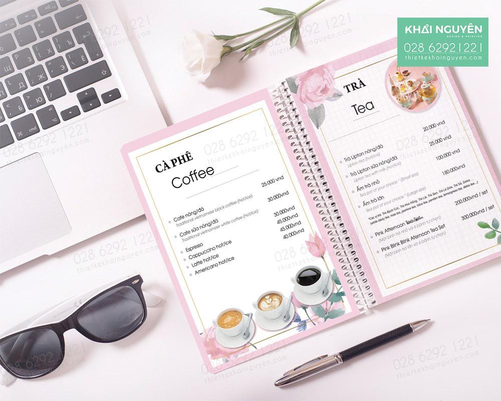 In menu bằng nhựa PVC cho tiệm cà phê đẹp