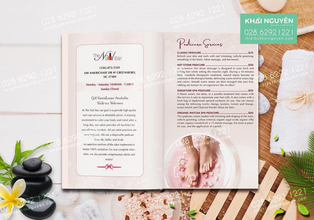 Thiết kế menu the nail spa với màu hồng xinh xắn