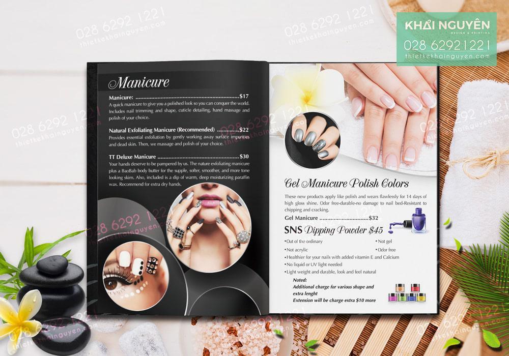 Thiết kế menu Nails Spa với tone màu đen trắng