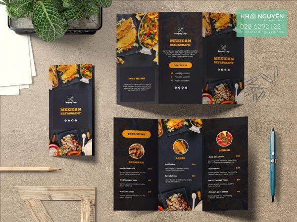 Mẫu thiết kế thực đơn gấp 3 của nhà hàng Mexico