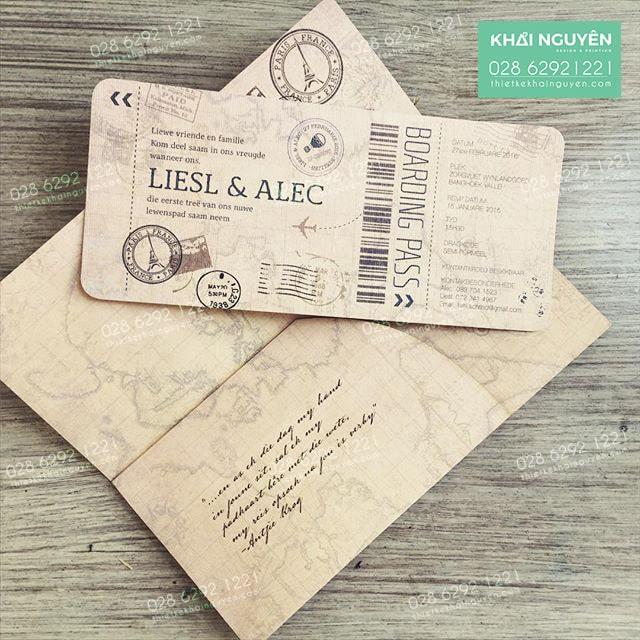 Cách in thiệp mời - thiệp cưới dạng vé máy bay