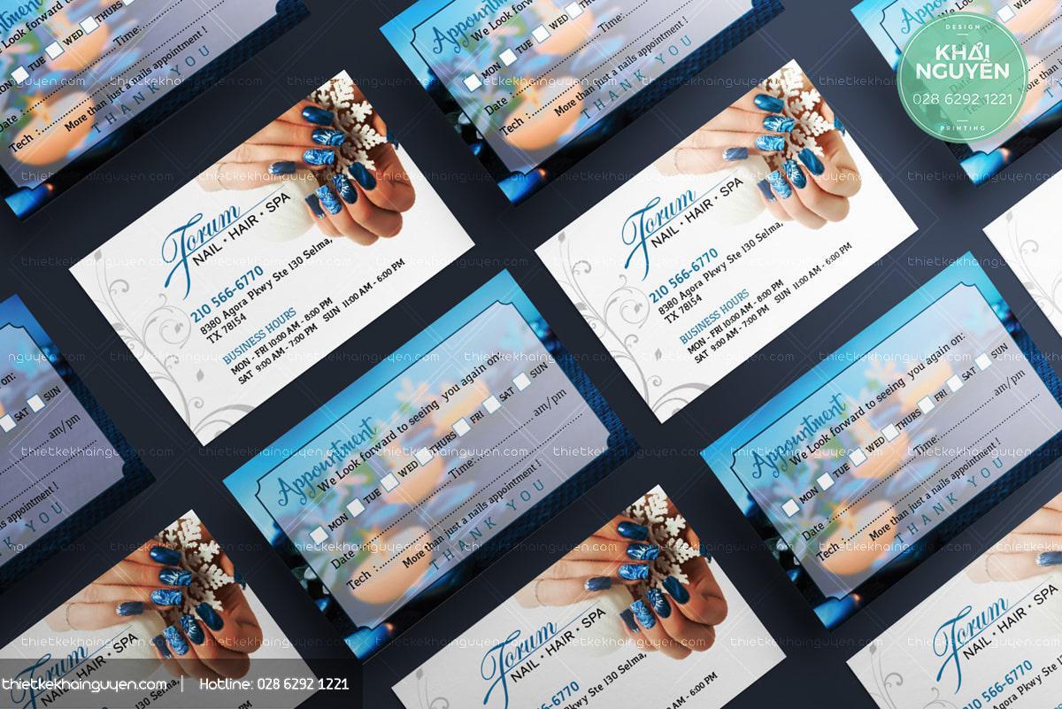 Mẫu phiếu lịch hẹn đẹp cho Nails Spa