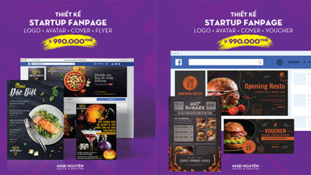 Thiết kế startup fanpage take away, delivery, fast food.