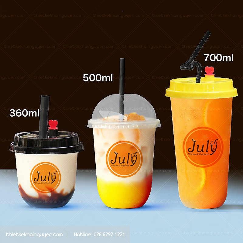 Làm logo trà sữa phải phù hợp với kích cỡ của từng ly