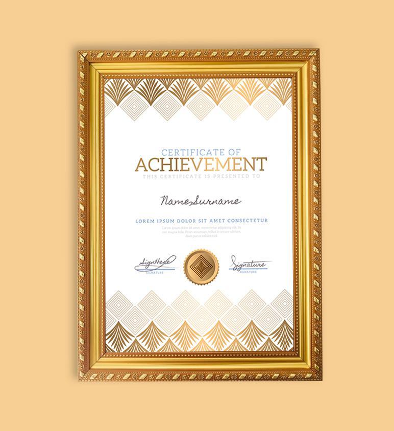 Khung bằng/giấy khen vàng ánh kim luxury - khổ A4 đứng