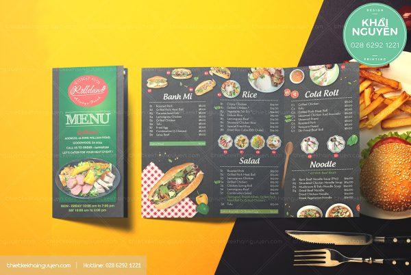In menu nhà hàng dạng gấp 3, menu mang về