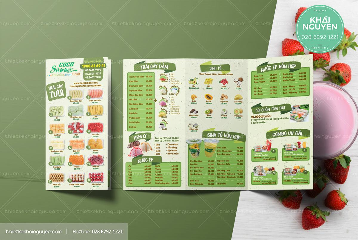 Mẫu menu mang đi cho quán trái cây Cocosummer