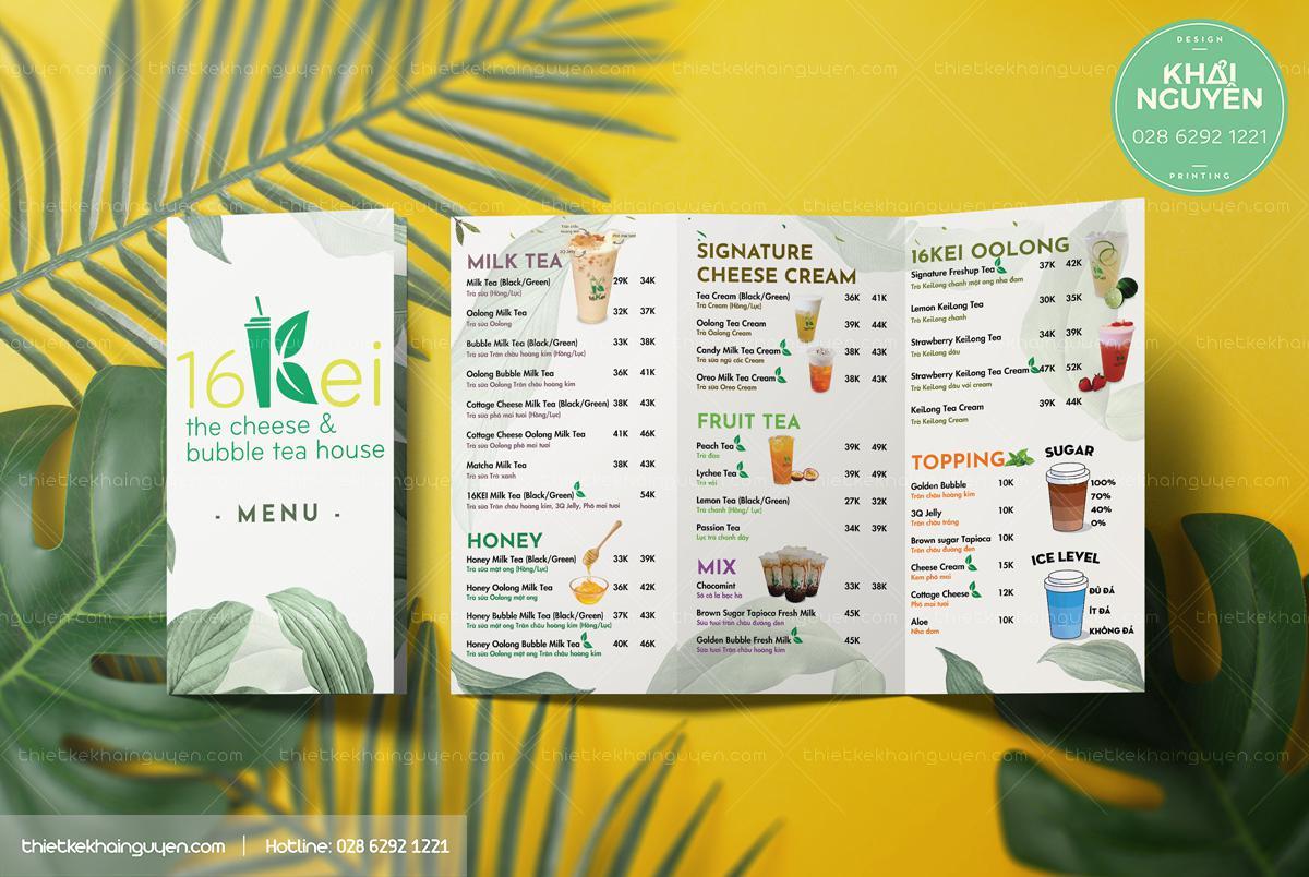 Take away menu - Tea House Tri-fold brochure