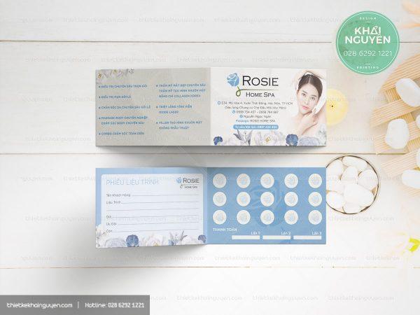 Phiếu liệu trình Rosie Spa với thiết kế gấp ngang