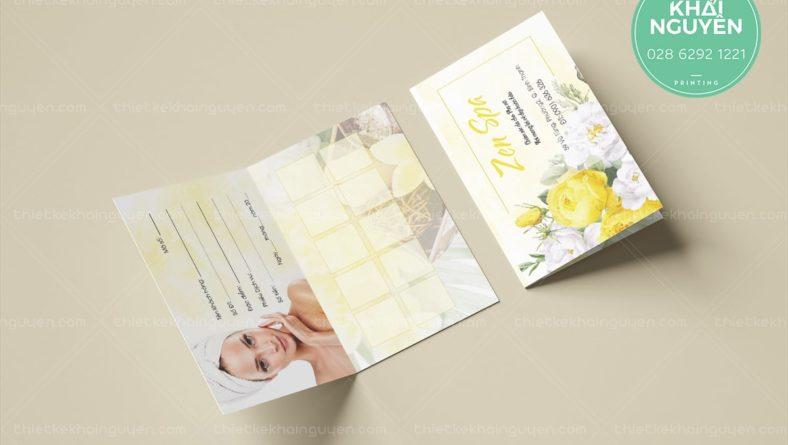 Pointment card Zen Spa với thiết kế gấp đôi