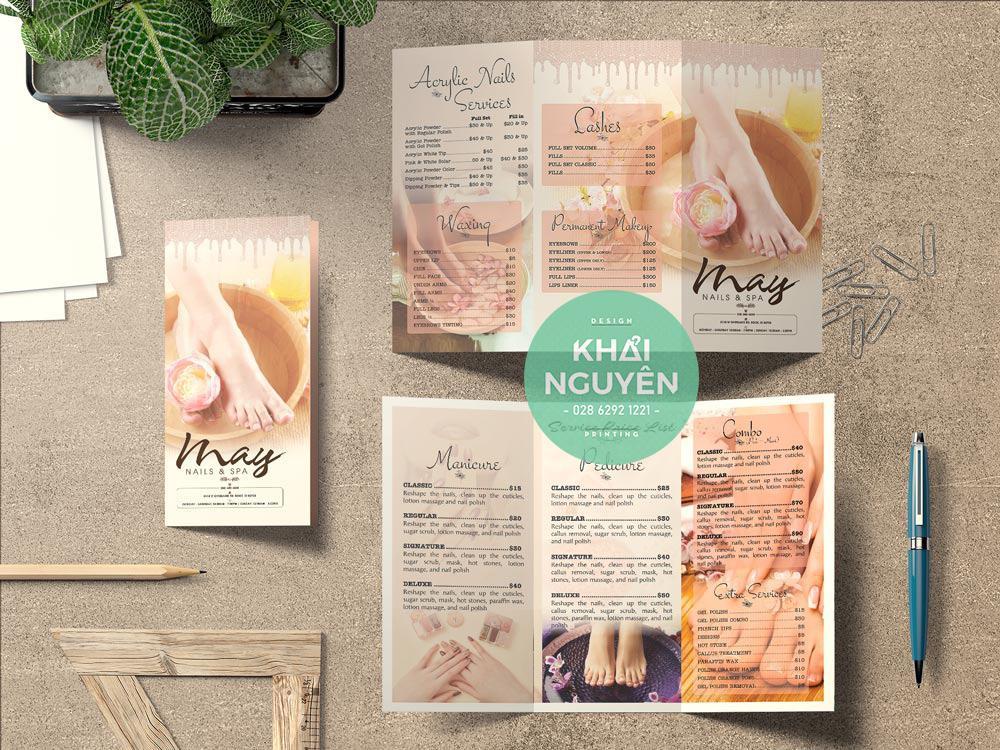 Thiết kế in menu gấp 3 cho tiệm Nail Spa
