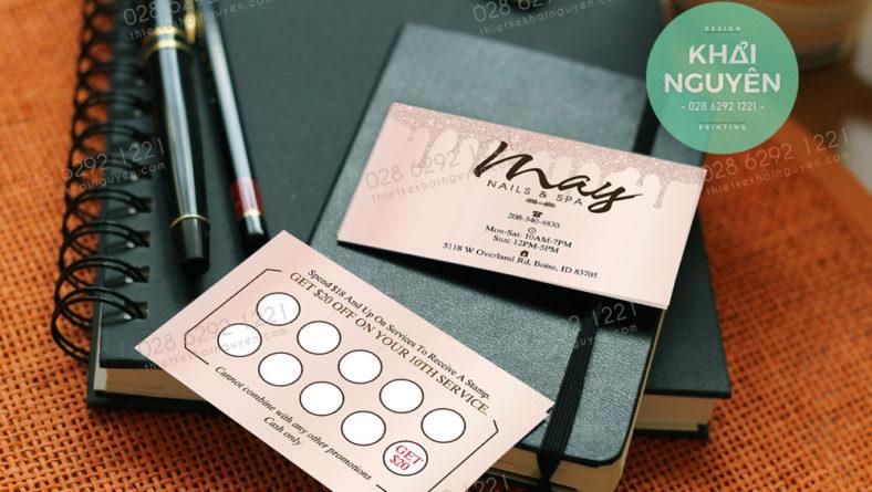 Thẻ tích điểm - card visit trong bộ thiết kế nails spa Hồng Phấn