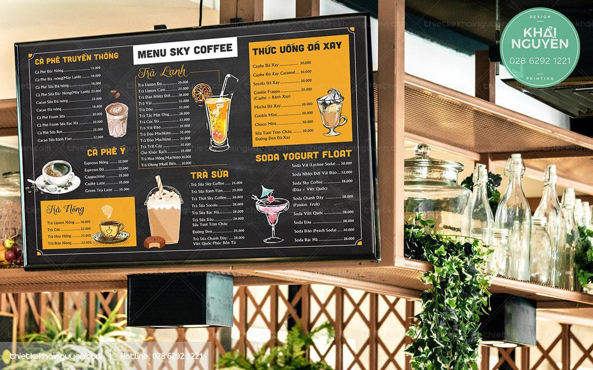 Thiết kế menu TV cafe, trà sữa, quán nước