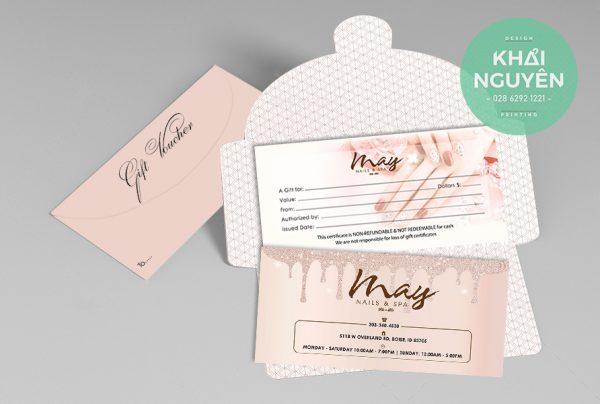 Bộ thiết kế & in ấn voucher hồng phấn cực xinh cho Spa