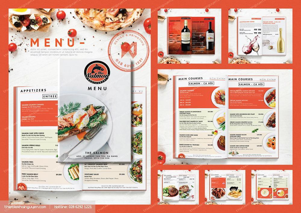 Tổng thể menu nhà hàng trong bộ nhận diện thương hiệu nhà hàng