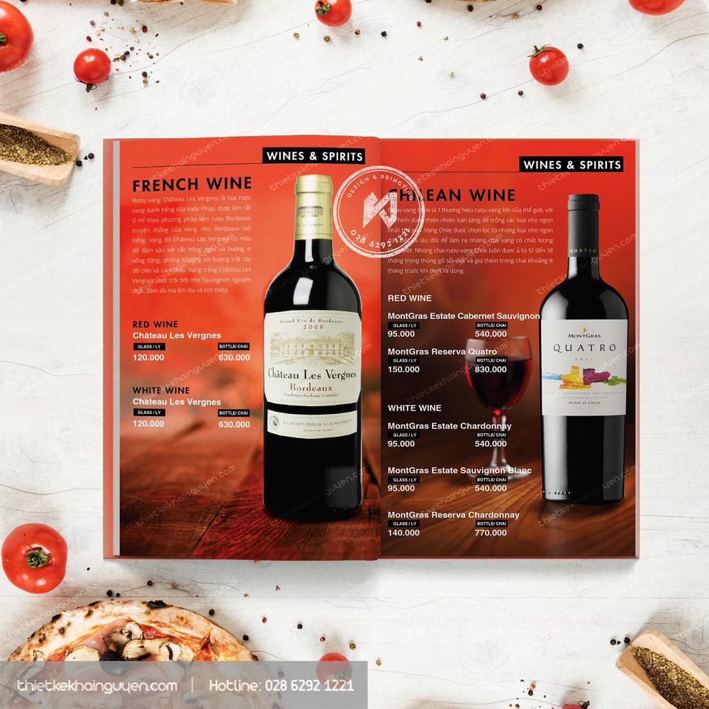 Thiết kế menu rượu trong thực đơn nhà hàng