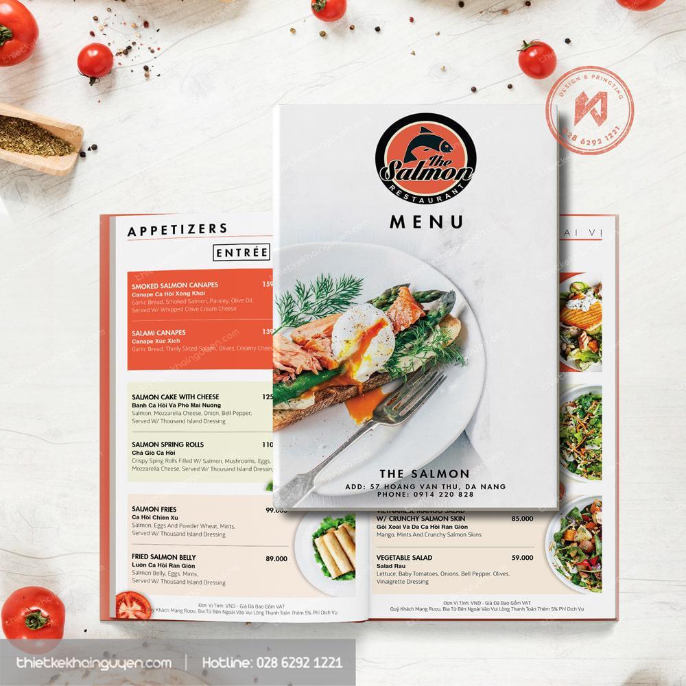 Phần bìa menu chính được thiết kế hài hòa với nội dung bên trong