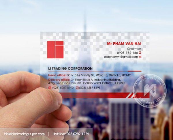 Phối cảnh in name card bằng nhựa trong.