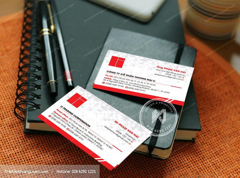 Name card công ty cổ phần thương mại với thiết kế đơn giản hiện đại