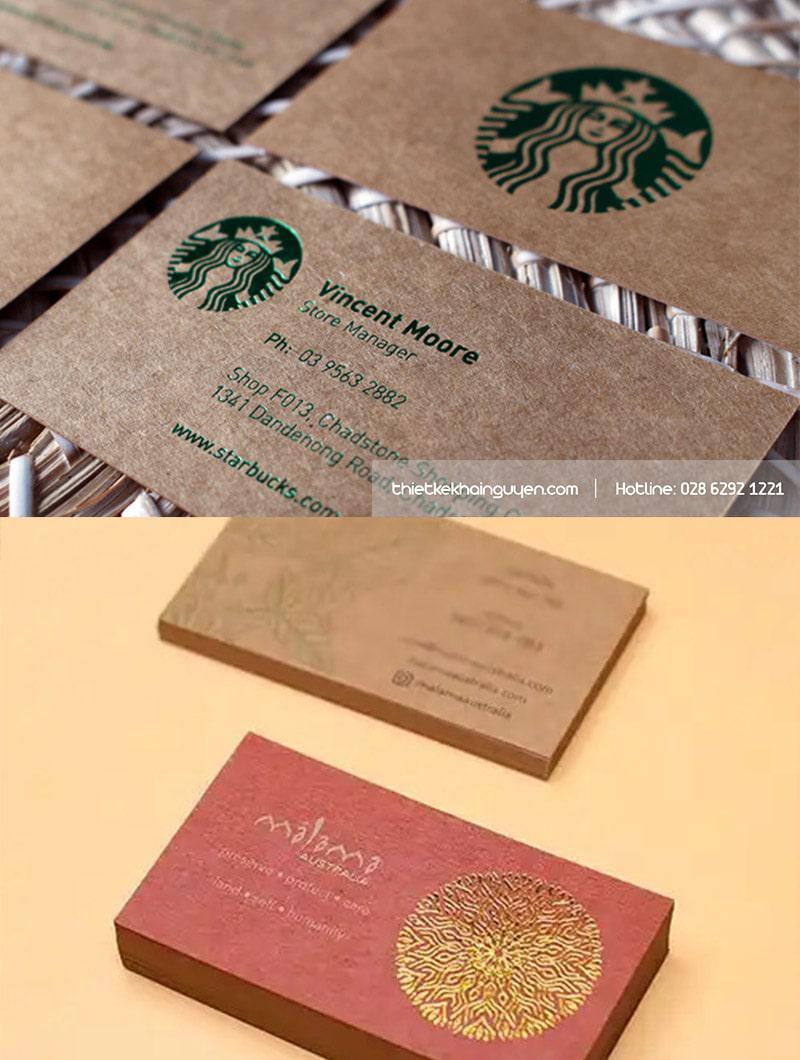 Ép kim trên name card giấy tái chế cũng chất không kém