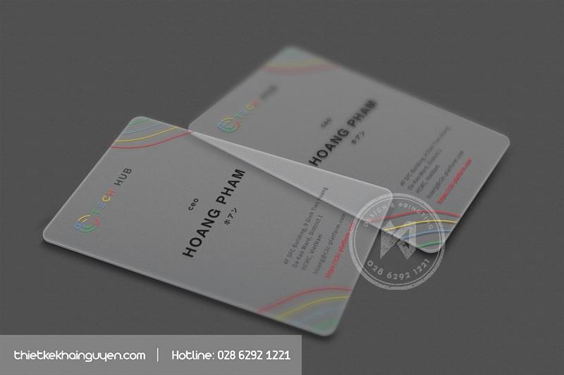 In card visit nhựa trong màng sần