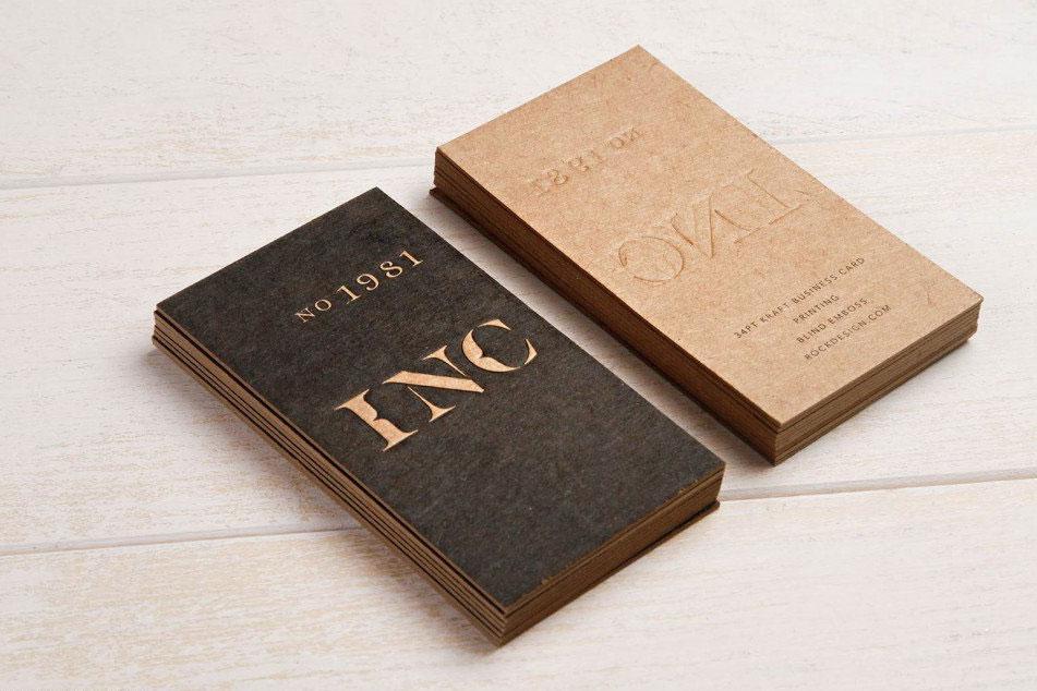 In card visit giấy kraft đẹp với công nghệ press letter